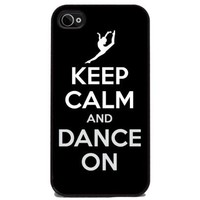 Keep Calm and Dance On - iPhone 4 or 4s Cover, Cell Phone Case - Black Silicone Rubber Sides