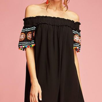 Off the Shoulder Dress with Colorful Embroidery and Pompom Details at Sleeves - Black