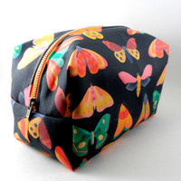 Bright Moth Large Lined Makeup Bag with Metal Zipper, Gadget Case Pencil Case, Zippered, Cosmetics, For Her Under 20