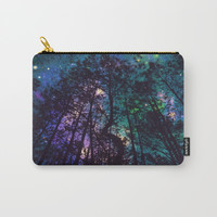 Black Trees Colorful Teal Space Carry-All Pouch by 2sweet4words Designs