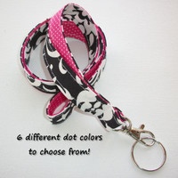 Lanyard  ID Badge Holder - Lobster clasp and key ring - design your own - black damask -  pink pin dots - two toned double sided