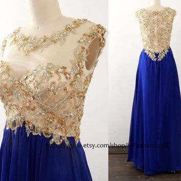 Royal Blue Prom Dress, Straps Chiffon Lace Long Prom Gown,  Gold Lace Blue Formal Gown, Lace Chiffon Formal Dress Wedding Bridesmaid Dresses