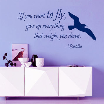 Bird Wall Decal Quote If You Want To Fly Buddha Vinyl Stickers Home Sea Gull Art Mural Bedroom Interior Design Living Room Decor KI3