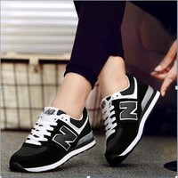 NB New Balance N word shoes breathable casual tide shoes Gump shoes running sneakers Black - white