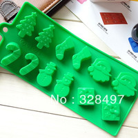 Freeshipping Silicone cake mold chocolate molds Christmas tree wand sock snowman DIY baking mould Bing Gemo L052