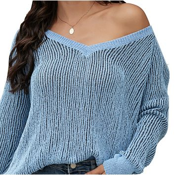 Women's hot sale fashion pullover V-neck loose sweater