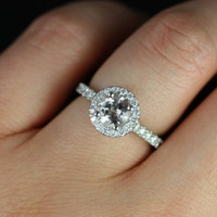Petite Dana Platinum Traditional Morganite Round Halo Classic Gallery Engagement Ring (Other metals and stone options available)