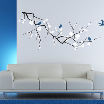 Wall Decals Cherry Blossom Tree Branch with Birds, 3 Colors (Medium) - Vinyl Wall Art