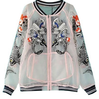 White Koi Fish Sheer Gauze Bomber Jacket