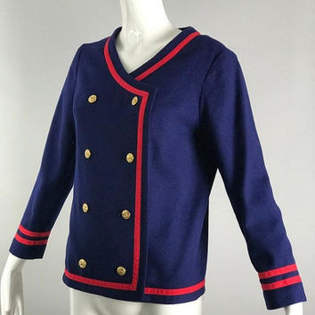 ViNtAgE Nautical Blazer Jacket Navy Military Double Breasted Suit Coat Preppy 80s Sailor Uniform boho Free People Womans Red Gold Classic