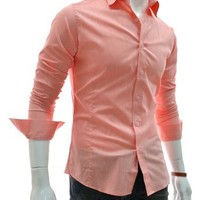 TheLees (STL) TheLees Mens casual slim fit basic dress shirts Orange US XS(Tag size M)