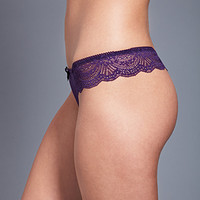 FOREVER 21 Scalloped Lace Thong Eggplant