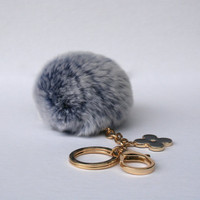 Pom-Perfect Frosted Blue REX Rabbit fur pom pom ball with black flower keychain
