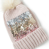 Beige Sequined Cuff Knitted Ball Hat