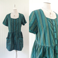 1990s green & black stripe folk print cotton oversized babydoll mini dress // grunge hippie festival big pockets // size OSFM