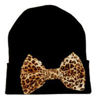 Black Beanie with Leopard Bow