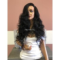 """Black Curly Swiss Lace Front Wig 22"""" 