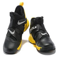 B026 Nike James Soldier 12th Generation Mid Basketball Shoes Black Yellow