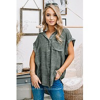 Love The Adventure Washed Button Up Top