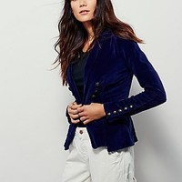 Free People Womens Structured Velvet Blazer