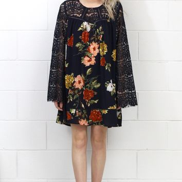 Long Lace Bell Sleeves Floral Printed Dress {Navy} - Size SMALL