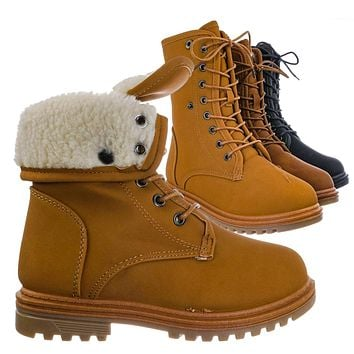 Whitney23K Girl Fold Lace Up Boot - Kid Faux Fur Shearling Lined Folded Collar