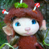 fairy doll mouse, miniature doll, collectible doll ,mushrooms hat, woodland fairy