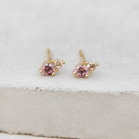 2-Stone Studs - Gold + Pink