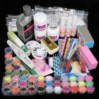 Vip Beauty Shop Professional 42 Acrylic Powder Liquid Brush Glitter Clipper Primer File Nail Art Tips Set Kit with Duck Nail Tips