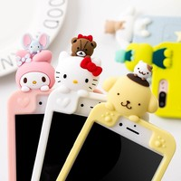 Lovely 3D Cute Japan Cartoon animal cat My Melody bear Soft Silicon Case Cover for iphone 6 6SPlus 7 7Plus 8 8plus X phone cases