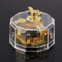 Acrylic Clear Gurdy Clockwork Movement Music Box Play Tunes Castle in the Sky