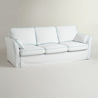 White and Blue Luxe 3-Seat Sofa Slipcover - World Market