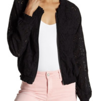 NWT Sanctuary In Bloom black eyelet bomber jacket, Size M, 2018 season, $139 new