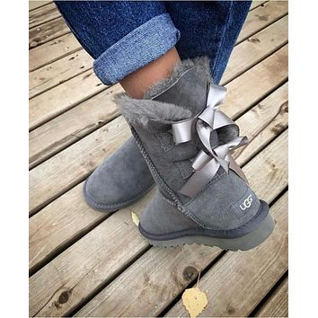 UGG Fashion Winter Women Man Cute Bowknot Flat Warm Snow Ankle Boots Shoes-5