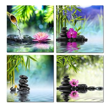 BANMU 4pcs/set Bamboo Black Spa Zen Stone Pictures Prints on Canvas Walls Art Work Modern Giclee Wall Artwork