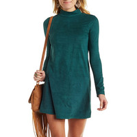 Faux Suede Mock Neck Shift Dress