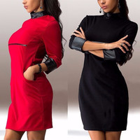 New Fall-Spring Women Three Quarter Sleeve Dresses PU Leather Sleeve Clubwear Dress Solid Color Dress
