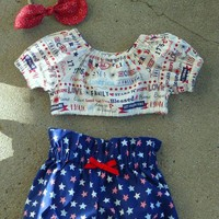 Girls 4th of July Outfit, Baby Girls 4th of July Boho Outfit, Patriotic Crop Top & High Waist Bloomer Set