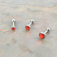 Cherry Red Triple Helix Stud Cartilage Earrings