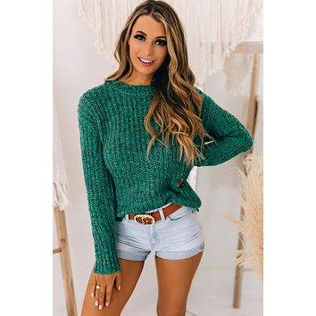 I'll Be Waiting Speckled Knit Sweater (Teal)