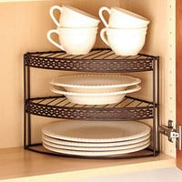 Bronze 2 Tier Corner Shelf Organizer Pantry Storage Kitchen Home Decor