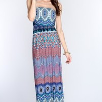 Blue Multi Printed Strapless Maxi Dress @ Amiclubwear sexy dresses,sexy dress,prom dress,summer dress,spring dress,prom gowns,teens dresses,sexy party wear,women's cocktail dresses,ball dresses,sun dresses,trendy dresses,sweater dresses,teen clothing,even