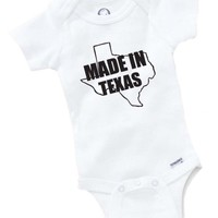 Made In Texas Onesuit Baby Clothing Shower Gift USA Pride Funny Cute Toddler