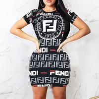 Fendi New fashion more letter print short sleeve dress women Black