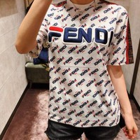 FENDI Women Men Casual Print Cotton Top T-Shirt White