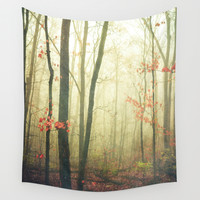 The Woods are Lovely Dark and Deep Wall Tapestry by Olivia Joy StClaire