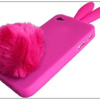 Peach Soft Cute Rabbit Bunny Ear Silicone Case Bushy Tail Holder for iPhone 4S 4G