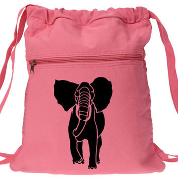 African Elephant Backpack Canvas Drawstring Bag