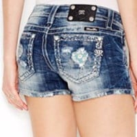 MISS ME DISTRESSED FLORAL PRINT SHORTS