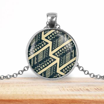 Tribal geometric pendant necklace, choice of silver or bronze, key ring option